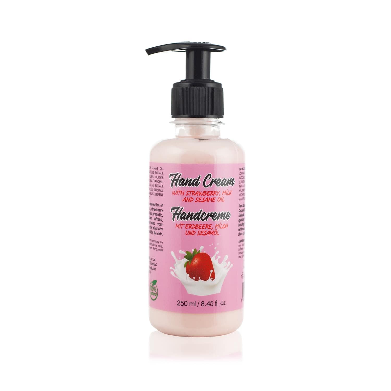 hand cream with strawberry and milk